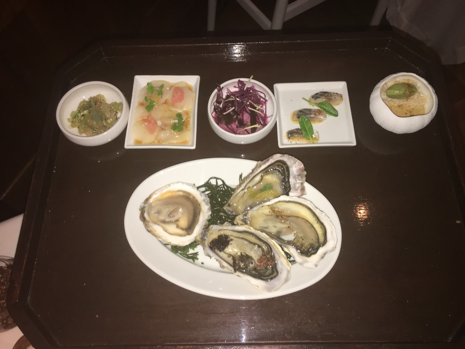 Cold appetizers, Grignoté des bords de Mer menu